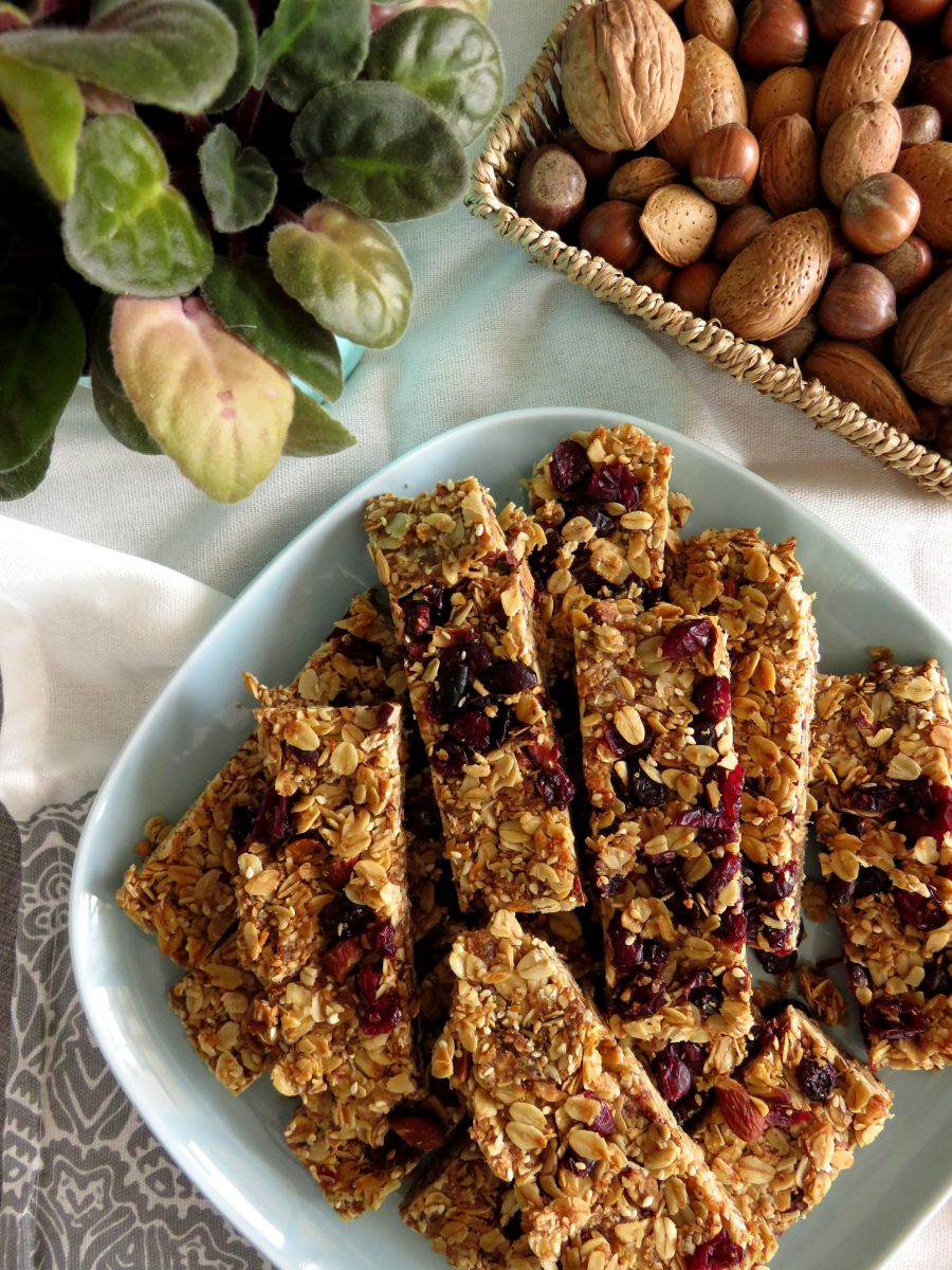 Sugar-Free Homemade Granola Bars with Cranberries & Almonds