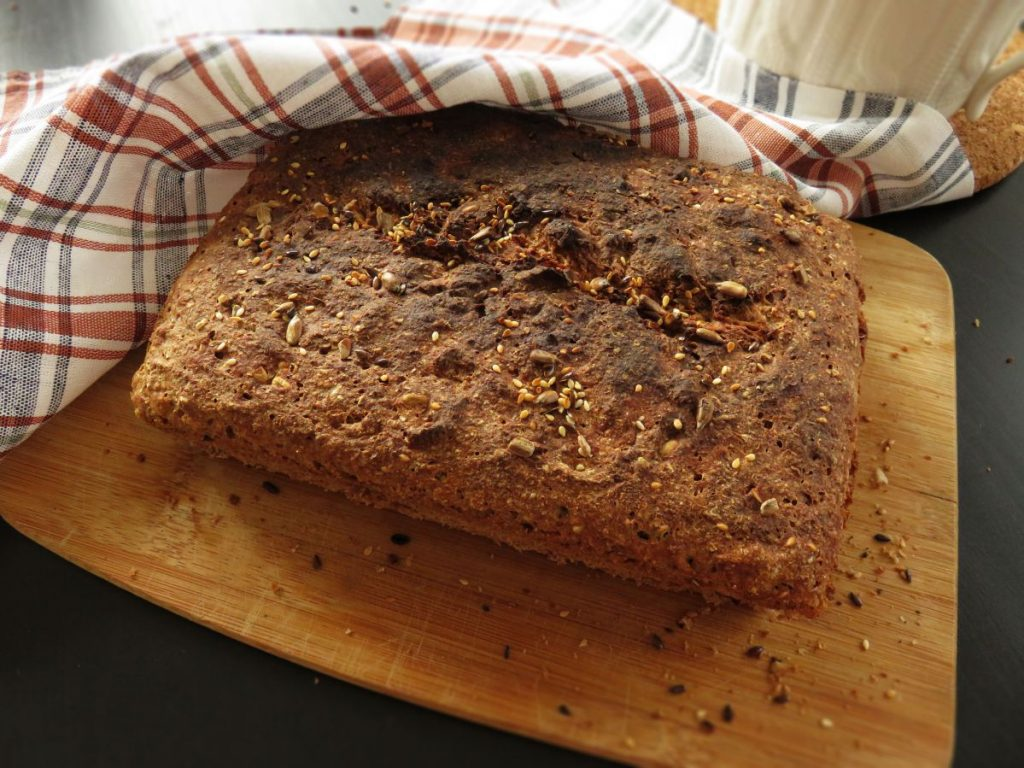 Easy Vegan Whole-Wheat Seed Bread out of the oven
