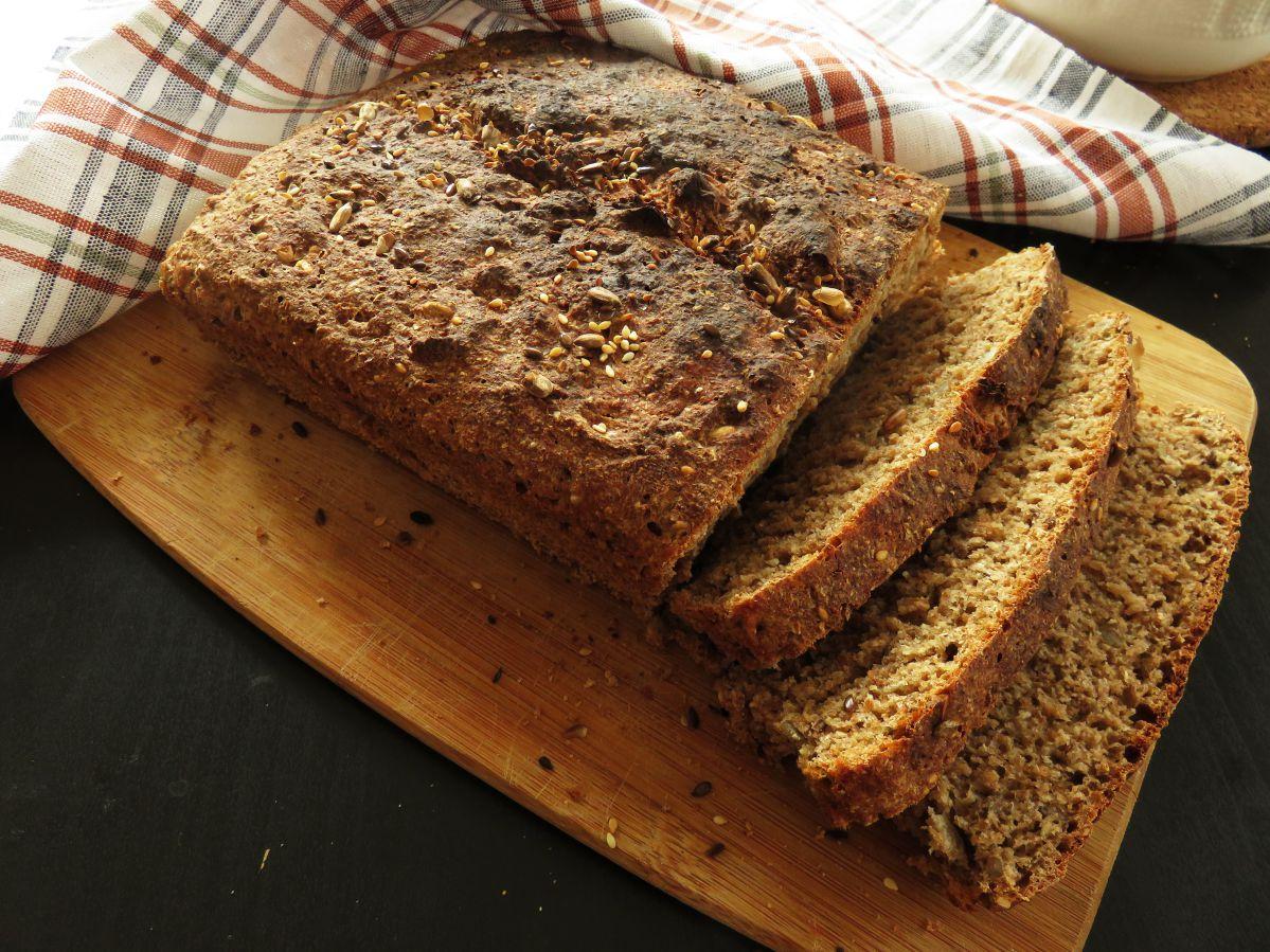 Easy Vegan Whole-Wheat Seed Bread sliced