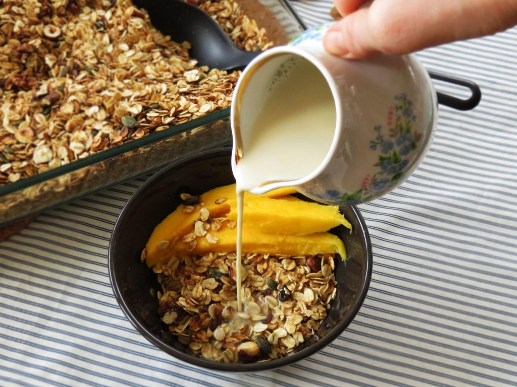 Crunchy Homemade Granola served in a bowl with plant milk