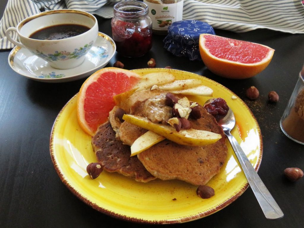 Fluffy Banana Oat Pancakes served with fruits