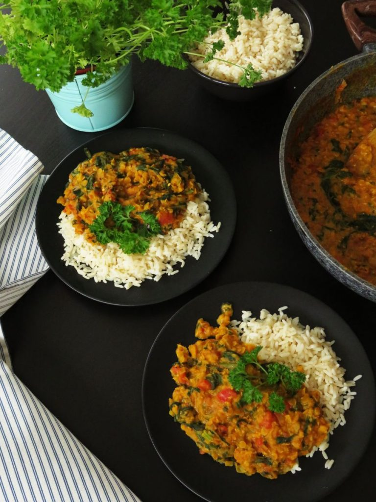 Creamy Red Lentil Dahl served with rice