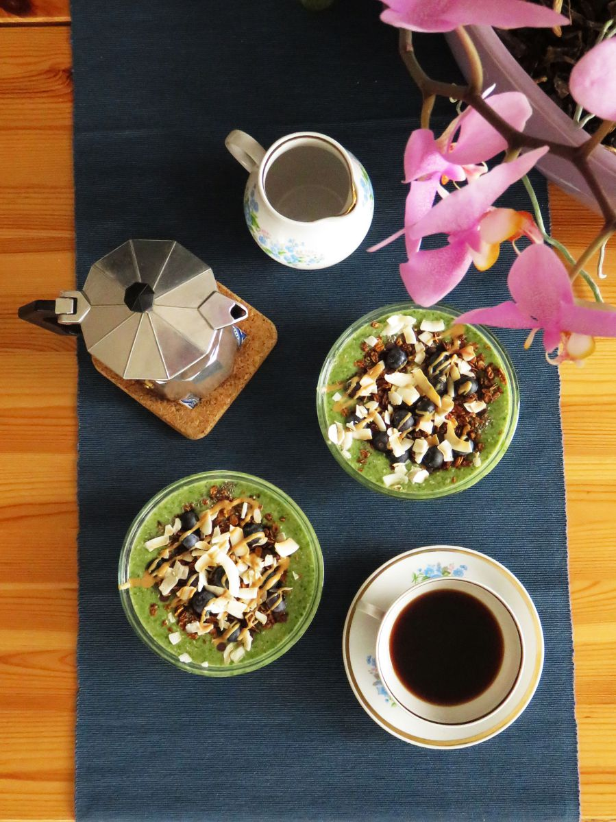 Iron-Rich Spinach Smoothie served as smoothie bowls