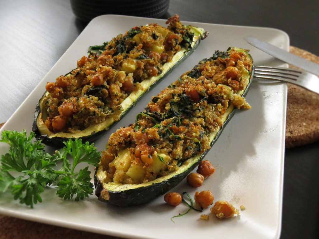 Ready to eat Baked Stuffed Zucchini with Chickpeas & Quinoa