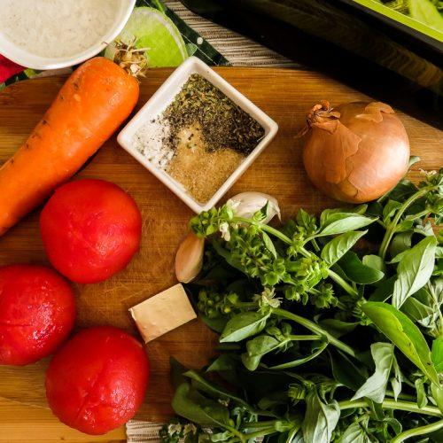 Coconut cream tomato basil soup ingredients