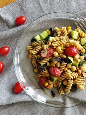 Crunchy Vegan Pasta Salad served on a plate