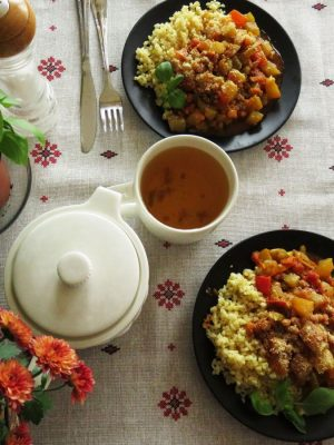 Vegetable ratatouille served with bulgur