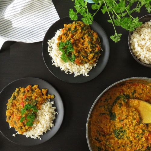 Creamy Red Lentil Dhal served onto plates