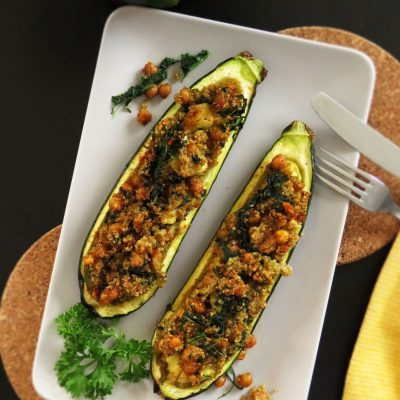 Baked Stuffed Zucchini with Chickpeas & Quinoa