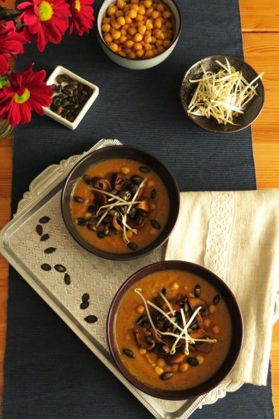 Creamy Pumpkin Soup with Chickpeas & Spicy Mushrooms